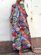 Bohmian Print Bat Sleeve Baggy Plus Size Maxi Dress with Pockets - Red
