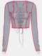 Bandage Patchwork Long Sleeve Halloween Sexy Crop Top For Women - Grey