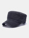 Men Washed Cotton Solid Color Letter Embroidery Casual Sunshade Military Hat Flat Cap - Black