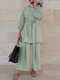 Solid Color Waistband Knotted Long Sleeve Casual Muslim Set for Women - Light green