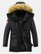 Mens Winter Thicken Multi-Pocket Zipper Fur Hooded Warm Down Coat - Black