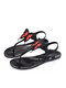 Women Summer Holiday Jelly Shoes Casual Butterfly Pattern Thong Sandals - Red