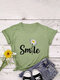 Letters Floral Printed O-neck Short Sleeve T-shirt - Army