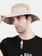 Unisex Outdoor Solid Climbing Fishing Sunshade Adjustable Side Buckle Bucket Hat - Khaki