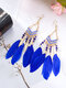 Alloy Feather Bohemia Fringed Feather Earrings Long For Women - Blue