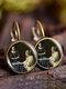 Vintage Glass Gemstone Dangle Earrings Famous Oil Printing Women Pendant Earrings - #09