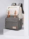 Women Multifunction Large Capacity Patchwork Mommy Backpack - Beige