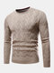 Mens Chevron Knitted Solid Color Crew Neck Slim Fit Casual Sweater - Khaki