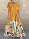 Vintage Print Patchwork Summer Plus Size Maxi Dress with Pockets - Yellow