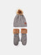 Women 2PCS Wool Plus Thicken Warm Winter Outdoor Knitted Gloves Knitted Hat With Fur Ball - Gray