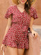 Floral Print Ruffle Short Sleeve Knotted Waistband Front Button Romper - Wine Red