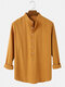 Mens Solid Color Cotton Breathable Casual Long Sleeve Henley Shirts - Khaki