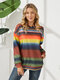 Contrast Color Striped Tie-dyed Long Sleeve Casual Hoodie for Women - Red