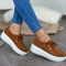 Women's Soft Lace-up Casual Large Size Wedges Sports Shoe - Brown