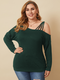 Solid Color Off Shoulder Long Sleeve Plus Size Blouse for Women - Green