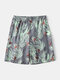 Men Summer Tropical Pattern Sleep Shorts Thin Flamingo and Plants Print Home Shorts - Green