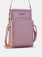 Simple All-match Multi-slots Stitch Detail Multi-pockets Touch Screen 6.8 Inch Phone Bag - Taro Purple