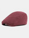 Men Cotton Solid Color Outdoor Leisure Wild Forward Hat Flat Cap - Wine Red