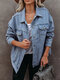 Casual Solid Color Pockets Plus Size Demin Jackets - Blue