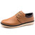 Men Pure Color PU Leather Lace Up British Style Casual Shoes - Khaki