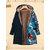 Флис цветочные лоскутное с капюшоном Plus Размер зимнее пальто