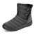 Buckle Cold Resistant Warm Fur Lining Waterproof Snow Ankle Boots For Women - Grey