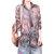 Chemise décontractée à manches longues imprimée tie-dye pour femme - café