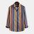 Mens Multi Color Stripe Printed Turn Down Collar Camisas de manga longa
