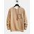 Mens Plain Solid Color Chest Pockets O-neck Sweatshirts - Khaki