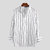 Mens Striped Printed Stand Collar Long Sleeve Comfy Casual Shirts