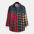Mens Plaid Hit Color Turn Down Collar Long Sleeve Casual Shirts - As Picture