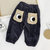 Toddler Eyes Pattern Patchwork Casual Corduroy Pants With Open Crotch For 1-7Y
