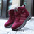 Elastic Band Shoelace Suede Hook Loop Warm Plush Lining Casual Ankle Boots