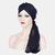Women Forehead Cross Beanie Hat Solid Color Fashion Chiffon With Long Tail