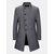 Mens Mid-long Wool Blends Coats Long Sleeve Diagonal Bottons Casual Jackets - Grey