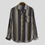 Mens Colorful Striped Chest Pocket Turn Down Collar Long Sleeve Casual Shirts
