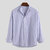 Mens Striped Printed Stand Collar Long Sleeve Casual Shirts