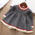 Toddler Girl's Knit Plaid Pleated Long Sleeves Tutu Dress For 1-7Y