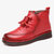 Women Handmade Leather Stitching Soft Sole Warm Fur Casual Flat Boots - Red