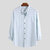 Mens Striped Collarlees Long Sleeve Cotton Linen Casual Loose Shirts - Green