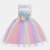 Girl's Embroidery Flower Rainbow Tulle Princess Birthday Formal Wedding Dress For 3-13Y - #03