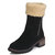 Large Size Fur Decoration Chunky Heel Slip On Winter Mid Calf Boots