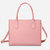 QUEENIE Women Casual Shopping Multifunction Handbag Solid Shoulder Bag - Pink