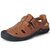 Menico Men Cow Leather Hand Stitching Non Slip Hollow Out Casual Sandals  - Brown