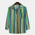 Mens National Style Fashion Spell Color Striped Chest Pocket Long Sleeve Shirt - Green