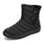 Buckle Cold Resistant Warm Fur Lining Waterproof Snow Ankle Boots For Women - Black
