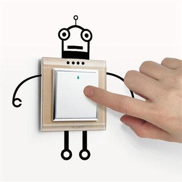 Модный робот-переключатель наклейки Жилая комната Стена Плакат
