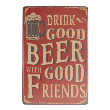 Beer Sheet Metal Drawing  Painting Tin Shop Pub Wall Art Tavern Poster Sign