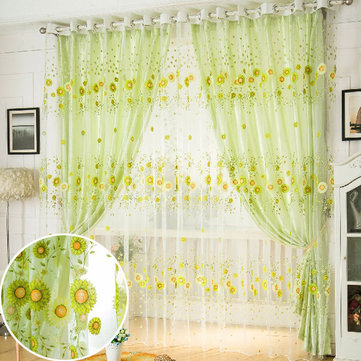 100x200cm Sunflower Tulle Voile Sheer Window Screen Bedroom Window Curtain