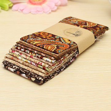 12PCS Coffee Cotton Patchwork Fabric DIY Quilting Cloth